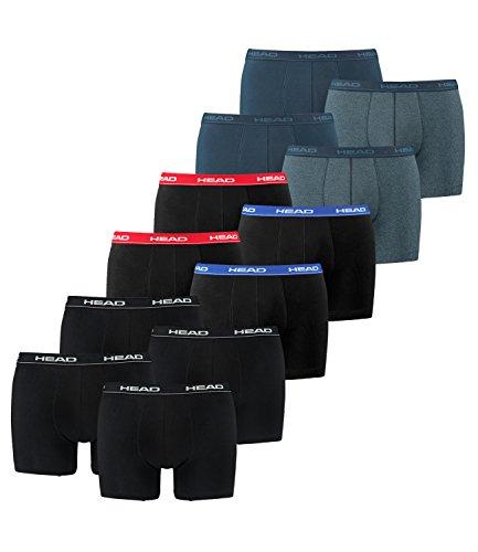 HEAD Herren Boxershorts 841001001 12er Pack, Wäschegröße:XL, Artikel:2x2er Schwarz / 2x2er Blue/Black / 2x2er Blue Heaven