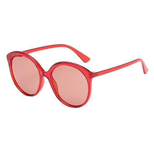 YAM DER Dämen Runde Sonnenbrille Anti-UV,Unisex Outdoor Sportbrille,Outdoor-Reitbrillen,Polarisierte,Anti-Blue Light,Anti-Fog,Kunststoff Rahmen,Rosa,Schwarz,Gelb Brille (C)