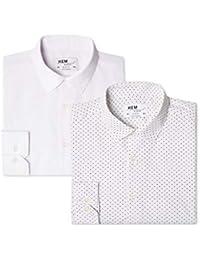 Marca Amazon - Hem & Seam Camisa Estampada Slim Fit Hombre, Pack de 2