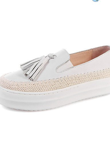 ZQ gyht Scarpe Donna-Mocassini-Tempo libero / Casual-Comoda / Punta arrotondata-Plateau-Di pelle-Nero / Bianco , white-us8 / eu39 / uk6 / cn39 , white-us8 / eu39 / uk6 / cn39 white-us5 / eu35 / uk3 / cn34