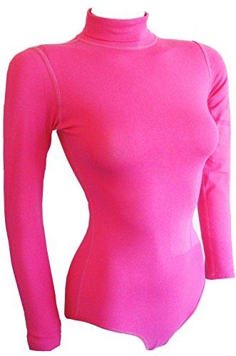(Ladies Rollneck Cotton Bodysuit) (X-Wenig(X-Small), Dunkelrosa(Hot pink)) (Pink Lady Kids Kostüme)