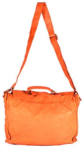 Rotella - Schultertasche Beuteltasche Satchel Bag Ledertasche Used-Look Damen Umhängetaschen Handtaschen Henkeltaschen 32x36x12 cm (B x H x T), Farbe:braun cognac