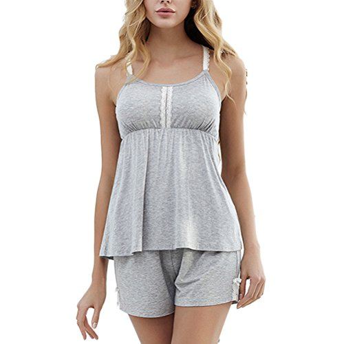 Zhhlinyuan Summer Womens Sling and Short Nightwear Two pieces Thin Section Pyjamas Set Gray