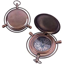 Marine Large Compass Shaped Pocket Watch Steampunk Bronze