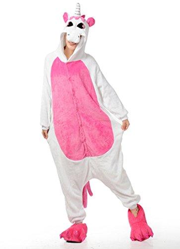Unisex Licorne Pyjama Licorne Adulte de nuit Costume Jumpsuit Animal de nuit Carnaval Licorne-Rose foncé