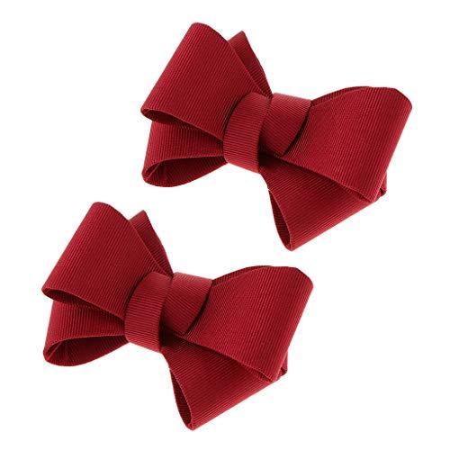 P Prettyia 2 Pcs Fiocco Farfalla Tacco Alto Scarpa Clip Charms Decorazione Di Scarpe Da Sposa - Rosso, 8 centimetri