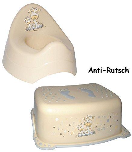 Unbekannt 2 TLG. Set: Anti RUTSCH - Trittschemel & Töpfchen / Nachttopf -  Giraffe - Creme  - Tritthocker / Kindersitz - Kinderschemel & Kindertritt - groß - ideal al..