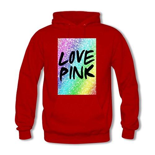 HGLee Printed Personalized Custom Love Pink Classic Women Hoodie Hooded Sweatshirt Red--1