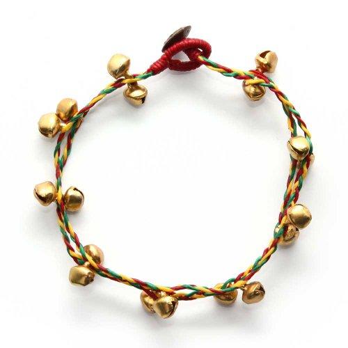 Idin Jewellery Cordino cera intrecciata doppio filo fatto mano con cavigliere tono rasta tono dorato