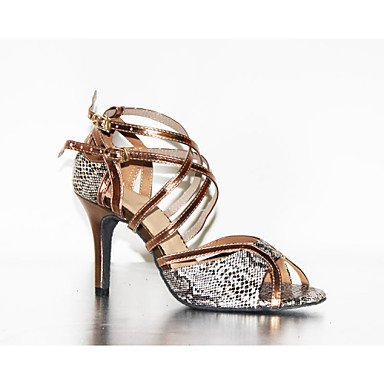 XIAMUO Anpassbare Damen Tanzschuhe Latein Kunstleder Stiletto Heel Schokolade Bronze