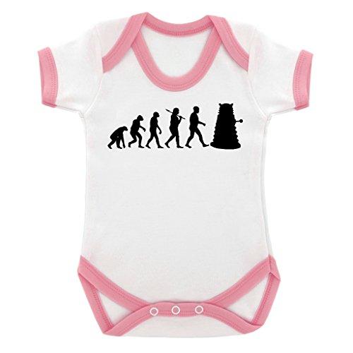 Evolution of a Cyborg Mutant Design Baby Body mit Baby Pink Kontrast Trim und schwarz print Gr. 6-12 Monate, rose