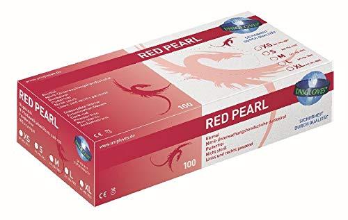 Unigloves Nitril-Handschuhe rot puderfrei - RED PEARL - 100 Stck. (Größe: 6-7 / S)