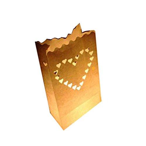 fish Doppel-Herz-Stern Flammenhemmende Papier Kerze Partei Luminary Tasche Feuerbeständige Tasche