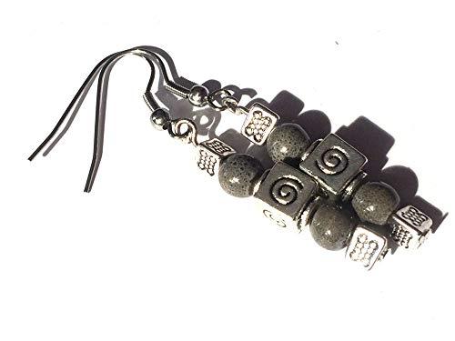 Orecchini in porcellana nera e perle a spirale d'argento