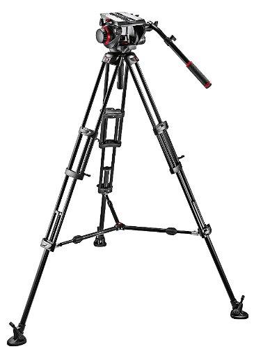Manfrotto 509HD 545 Kit Serie 509 con Testa con Controbilanciemento a 4 Step, per Video con DSLR e Videocamere, 3 Sezioni a Doppio Tubo, in Alluminio, Nero