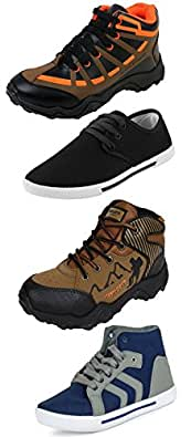 Chevit Men's Fantastic Pack of 4 Casual and Sports (Loafers, Sneakers, Cricket, Gym, Jogging & Running Shoes) QD-414+114+109+415-10