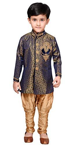 Desi Sarees Jungen Kurta Pyjama Indo Western Sherwani EB 948 (10 Jahr, Blaue Marine) Chiffon Churidar