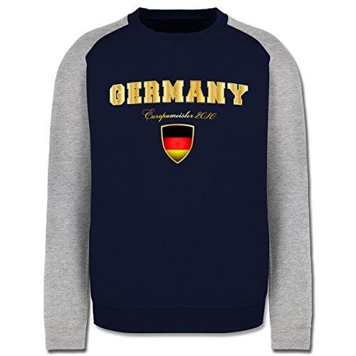 EM 2016 - Frankreich - Germany Europameister 2016 - Herren Baseball Pullover  Navy Blau/Grau
