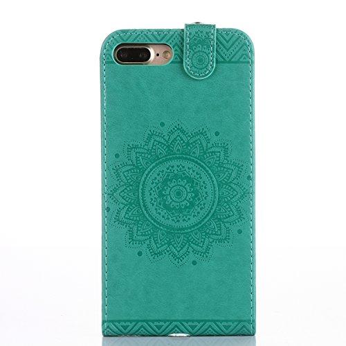 Custodia per Apple iPhone 7 Plus, ISAKEN iPhone 7 Plus Flip Cover con Strap, Elegante Sbalzato Embossed Design in Pelle Sintetica Ecopelle PU Case Cover Protettiva Flip Portafoglio Case Cover Protezio Verde