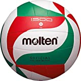 Trainingsball, weiches Synthetik-Leder, maschinengenäht - Farbe: Weiß/Grün/Rot, Größe: 5