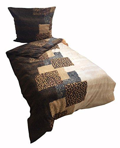 Leonado Vicenti Warme Thermofleece Bettwäsche 2 teilig 135x200 cm Tierfellmuster braun beige Winter Set mit Reißverschluss