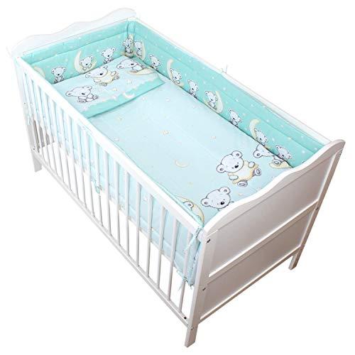 TupTam Baby Bettwäsche mit Nestchen 3-TLG, Farbe: Bärchen Mond Grün, Anzahl der Teile:: 3 TLG. Set