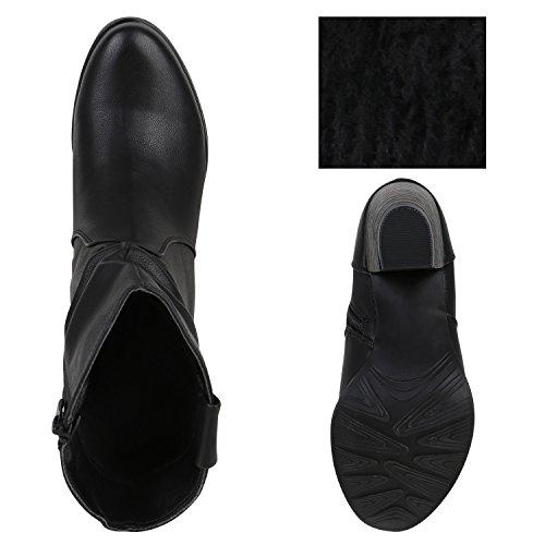 Damen Cowboy Boots Holzoptikabsatz Stiefeletten Western Schwarz