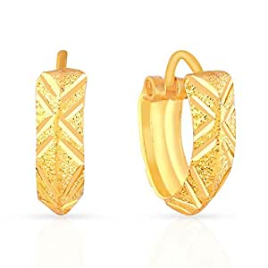 Malabar Gold and Diamonds 22k (916) Yellow Gold Hoop Earrings