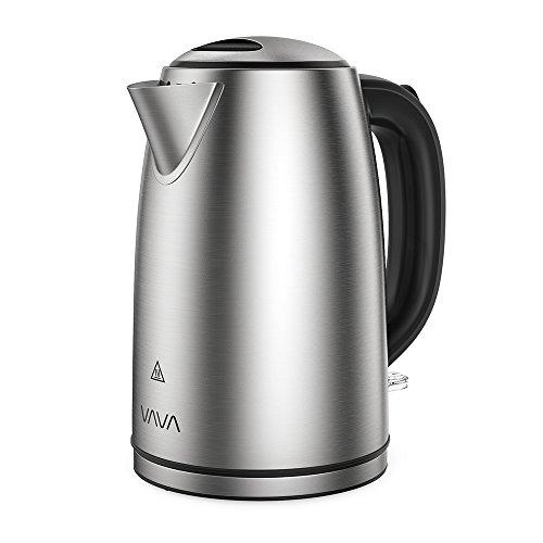 VAVA Wasserkocher Edelstahl 1,7 L Elektrischer Teekessel mit British Strix Control Trockengehschutz LED-Lichtanzeige BPA-frei