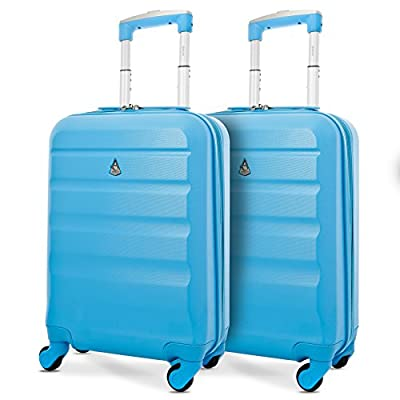 Set of 2 Aerolite 55cm ABS Hard Shell Carry On Hand Cabin Luggage Suitcase - hand-luggage