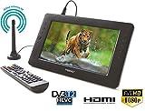 Maxxo - Mini TV HD-T2 HEVC H.265/H.264 con función de Caja Superior, Antena Activa 5 V, batería de Iones de Litio 2000 mAh,