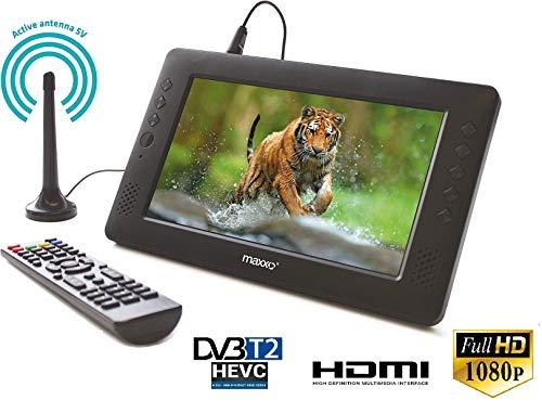 Maxxo Tragbarer Fernseher mit Set-top Box Empfänger 2in1 HD TV Monitor und DVB-T/T2 Receiver HEVC H.265/H.264 Aktive Antenne
