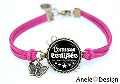 Bracelet femme Connasse - rose noir