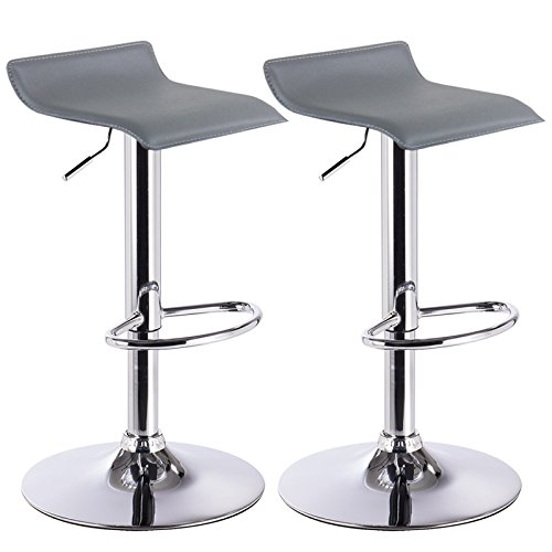 Barhocker Design Drehstuhl Hocker Barstuhl Lounge Bar Stuhl 2x Grau BH11gr (Bar Hocker Stuhl)