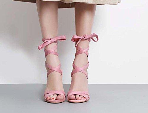 SHEO sandali con tacco Signore con cristalli di spessore spesso con cinghie con tacco alto con scarpe trasparenti Rosa