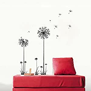 Anself Belle pissenlit Fly in the Wind DIY Stickers muraux Papier peint Art Décor mural Chambre Decal
