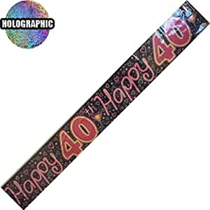 40Th Happy Birthday Banner Pack Purple/Multi Colour Decorations ( Bgc ) 319