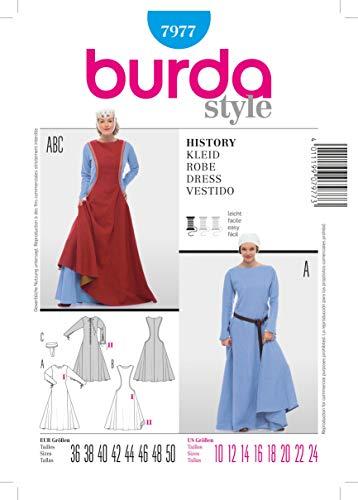 Burda B7977 Patron de Couture Historie Robe 19 x 13 cm