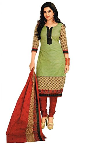Little lady Women's Printed Unstitched Regular Wear Salwar Suit Dress Material (LP_DM_GREEN_121)  available at amazon for Rs.199