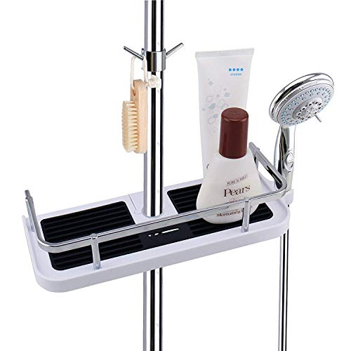 eujiancai Chrome Shower Caddy Bath Shelf Rack Organizer with Hooks Detachable Storage Basket for Bathroom Soap Shampoo Conditioner Tidy, NO Drilling Wall Mounted - Suit for 19mm and 25mm Rail - Chrome Bath Caddy