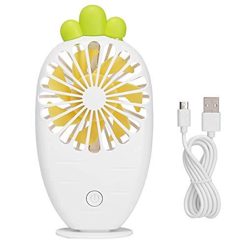 Famus Mini USB Fan wiederaufladbare tragbare kleine Tabletop Fan niedliche Karottenform für den Sommer(Weiß) (Wiederaufladbare Fan)