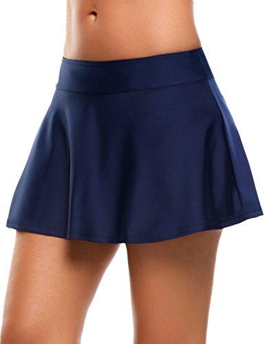 Skine Badeshorts Damen Bikini Rock Strand Rock mit integrierter Hose Hohe Taille Mini Bikinihosen Bottom Mit Short, Dunkle Blau, Medium