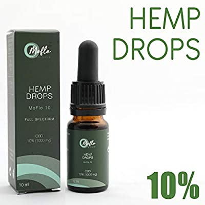 MoFlo 10 |10% Full Spectrum Hemp Oil | Organic Vegan-Friendly High-Strength Hemp Oil | Non-GMO Gluten-Free | 10ml with 1000mg Active Compound by MoFlo Botanicals