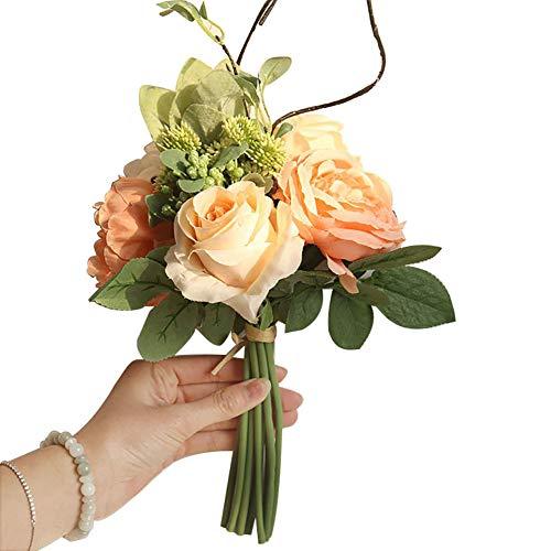 uß künstliche Blumen, Garten DIY Bühne Party Hochzeit Urlaub Dekor - Milk White Art Deco Peach pink ()