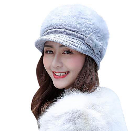 Winter Strickmütze Mütze Damen Lonshell Feinstrick Frauen Beanie Mütze mit Schädel Kappe Skimütze (#1 Grau)