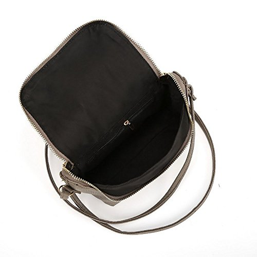 Einzel Strap Sling Bag für Frauen Purposefull - Kleine falten - PU-Leder / Polyester Material - in verschiedenen Farben Grau
