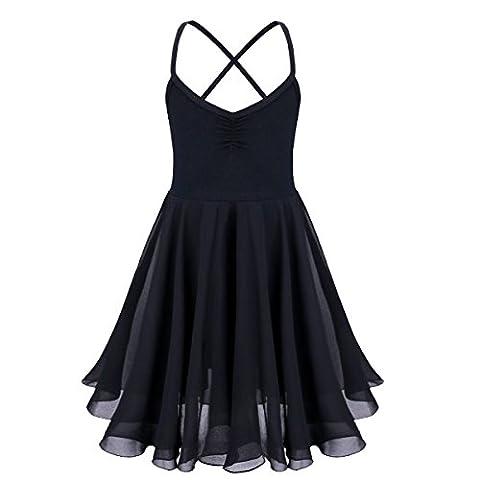 freebily Enfant Fille Robe Danse classique Ballet T shirt Extensible en Mousseline de soie ébouriffé Leotards 2-10 Ans Noir 7-8 Ans