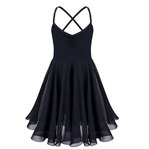 Tiaobug Kinder Mädchen Ballettkleid Ballettanzug Ballett Trikot Kleid mit Chiffon Rock in Weiß Schwarz Rosa Lavender Schwarz (Kinder Kleider Schwarz)