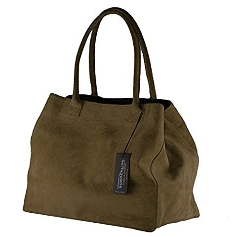 Sac A Main Daim Marron - BORDERLINE - 100% Made in Italy -