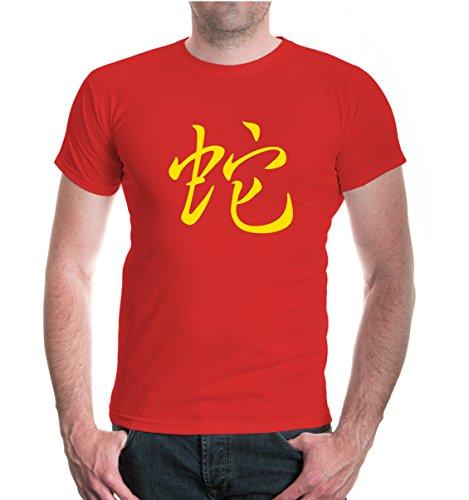 buXsbaum® T-Shirt Astrological Sign Snake Red